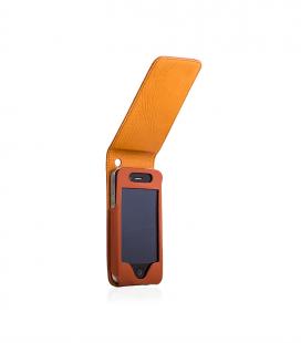 "iPhone 4 4S Hülle Flip Cover Hardcase ""Cognac"""